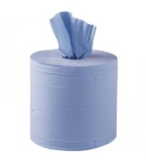 Essuie-mains bleu 2 plis à dévidage central contact alimentaire Jantex x6