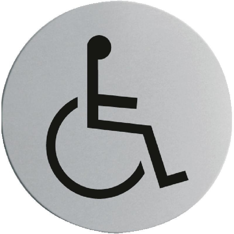 Plaque de porte en acier inoxydable handicap for Porte handicape