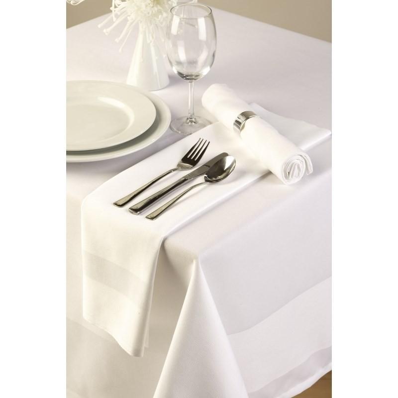 Nappe en coton blanche avec bande de satin 1370mm - Nappe damassee blanche ...