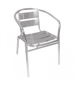 Fauteuils empilables en aluminium Bolero - Lot de 4 -