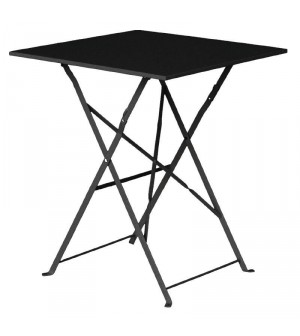 Table de terrasse noire en acier Bolero carrée 600mm