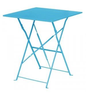 Table de terrasse bleu turquoise en acier Bolero carrée 600mm