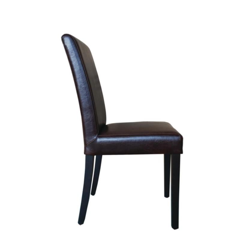 chaise dossier haut en simili cuir bolero marron fonc. Black Bedroom Furniture Sets. Home Design Ideas
