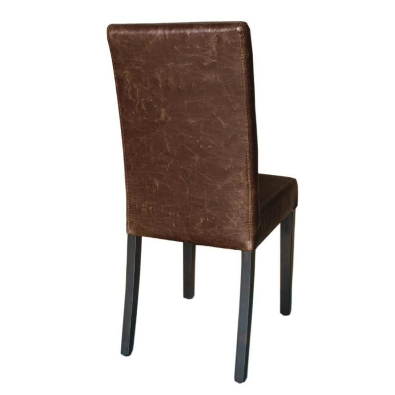 chaise dossier haut en simili cuir bolero marron patin. Black Bedroom Furniture Sets. Home Design Ideas