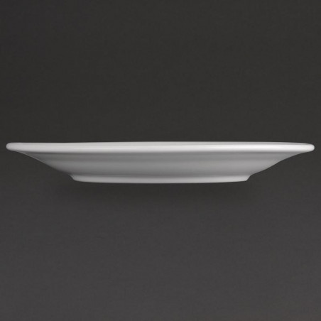Assiettes à bord large en porcelaine blanche 280 mm Athena Hotelware - Lot de 6 -
