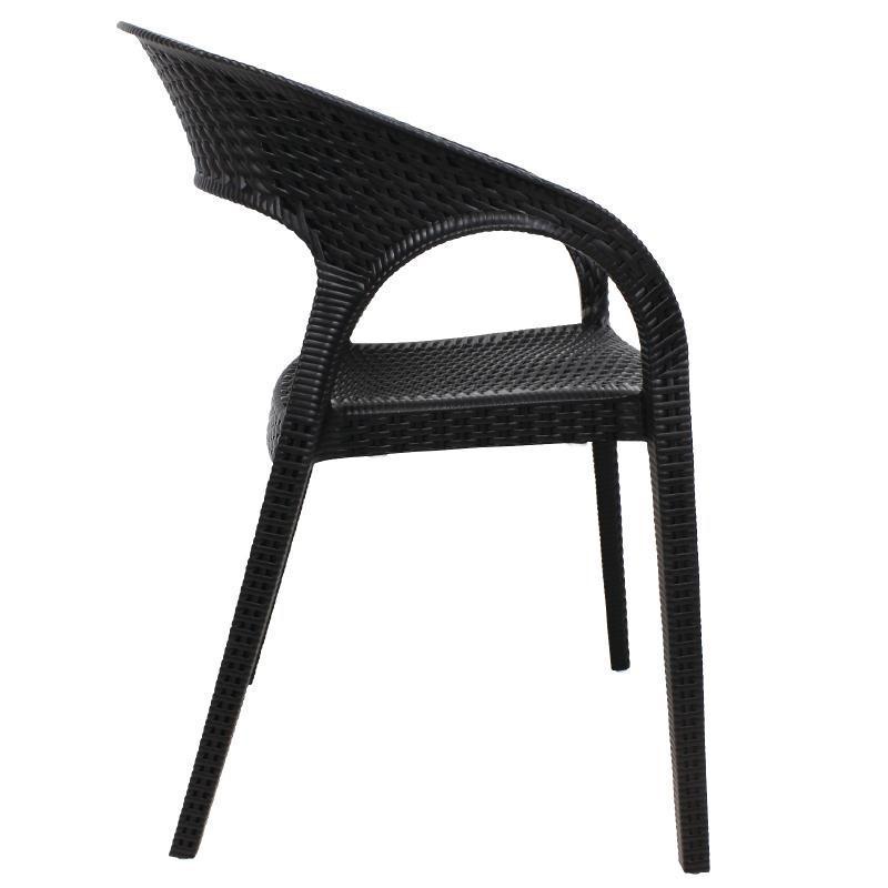 fauteuil enveloppant en rotin pp bolero noir x 4. Black Bedroom Furniture Sets. Home Design Ideas