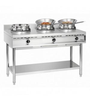 Cuisinière wok à gaz - 3 brûleurs x 11.5 kw