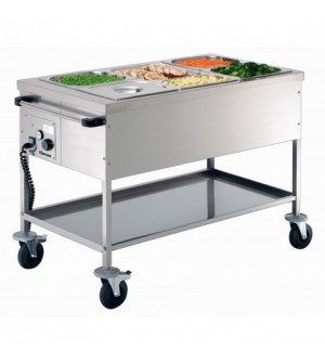 Chariot bain-marie professionnel - 3 x GN 1/1