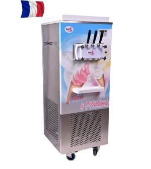 Machine à glace sur roulettes triphasé - 2 parfums et 1 mixte