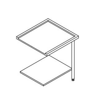 Table entrée/sortie pour machines à paniers 600 x 500 - configuration en angle