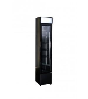 Armoire à boissons étroite noire - porte en verre - 105 litres