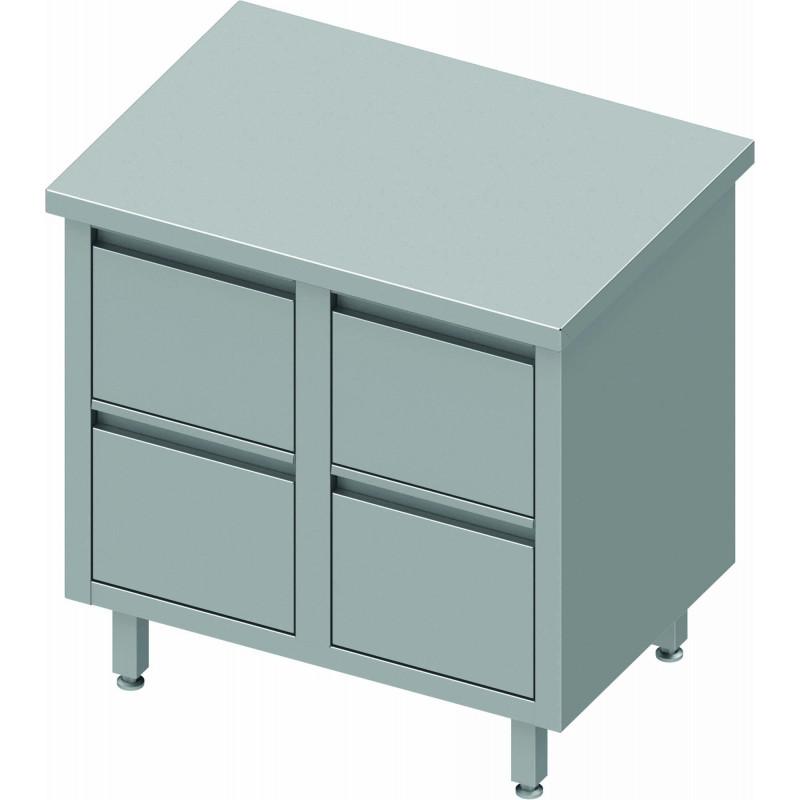 Meuble bas inox professionnel 4 tiroirs gamme 800 stalgast - Meuble bas inox ...