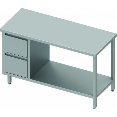 Table Inox Avec Tiroir A Gauche et Etagère - Gamme 600 - Stalgast -