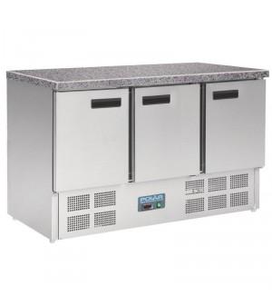 Comptoir réfrigéré positif plan de travail en marbre Polar 3 portes 368L