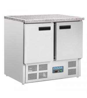 Comptoir réfrigéré positif plan de travail en marbre Polar 2 portes 240L