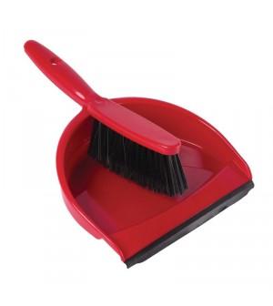 Set balayette à poils doux et pelle Jantex rouge