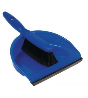 Set balayette à poils doux et pelle Jantex bleu