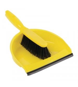 Set balayette à poils doux et pelle Jantex jaune