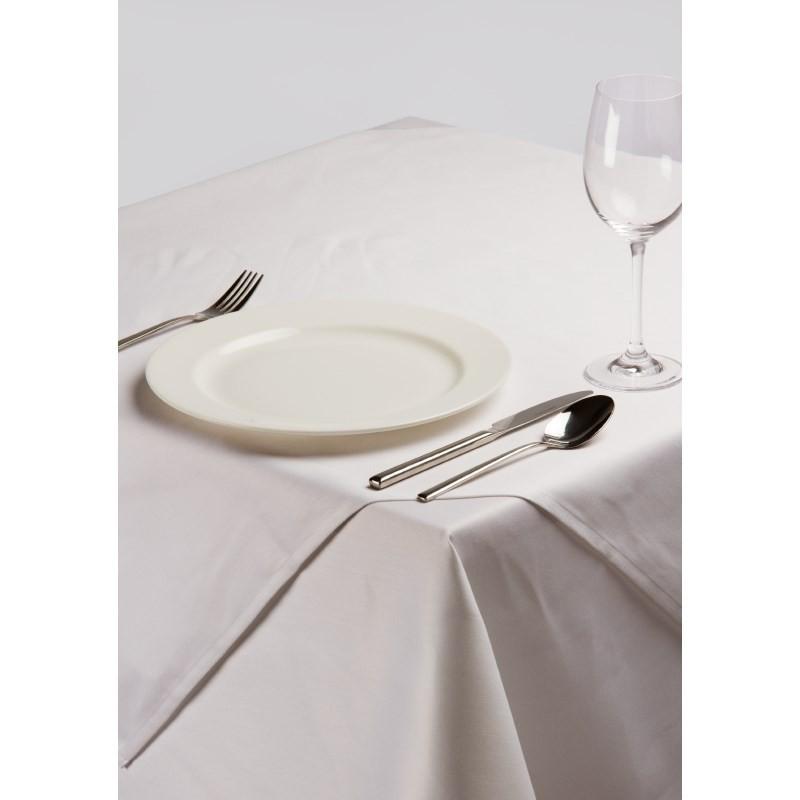 Nappe carr e en polyester coton blanc uni - Nappe en coton blanc ...